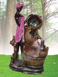 Фонтан с помпой Каскад кувшинов, африканские мотивы, шарик, подсветка софит
