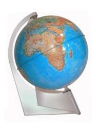 Глобус физический диаметром 150 мм на треугольной подставке